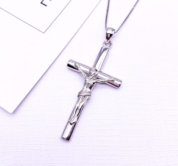 Sterling Silver Jesus Christ Cross Pendant & Necklace