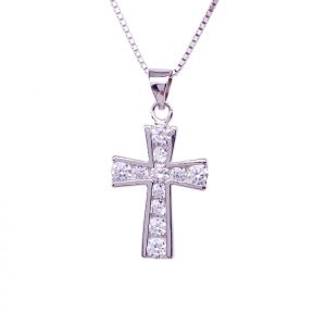Sterling Silver Crystal Cross Pendant & Necklace