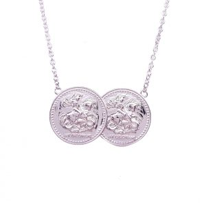 Sterling Silver Full Two Coin Holly Necklace