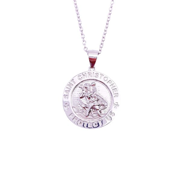 Sterling Silver St Christopher Pendant & Necklace
