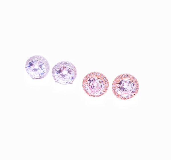 Sterling Silver CZ Round Stud Earrings