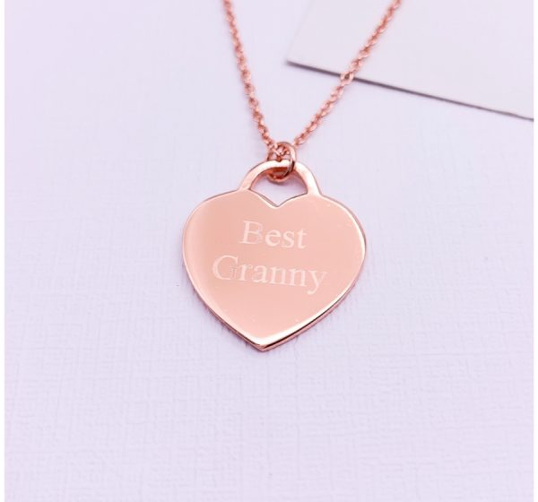 Sterling Silver Necklace Heart Tag with Engraving