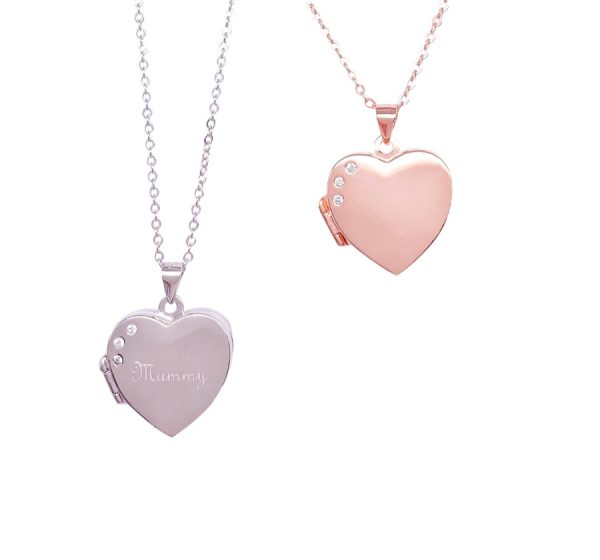 Sterling Silver Heart Shape Locket with CZ Stone For Engraving