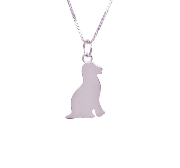 Sterling Silver Dog Necklace with Engraving