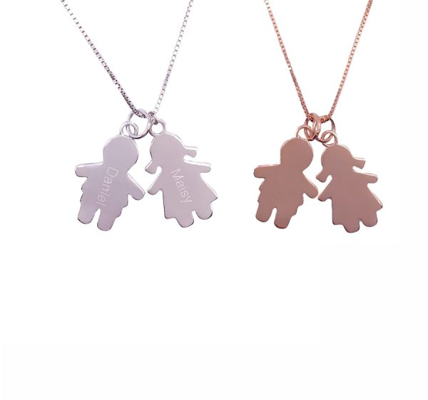 Sterling Silver Boy and Girl Necklace with Names Engraving