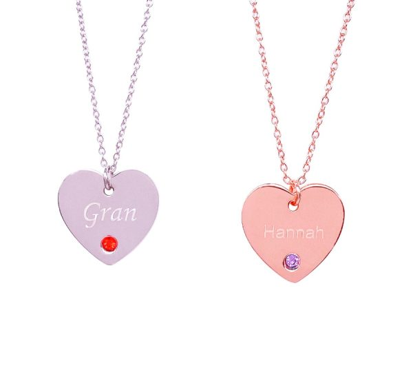 Sterling Silver Heart Birthstone Necklace with Engraving