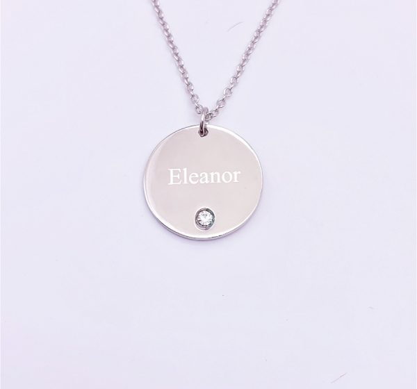 Sterling Silver Round Birthstone Necklace with Engraving
