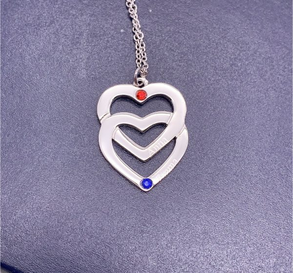 Sterling Silver Double Heart with Birthstones Necklace