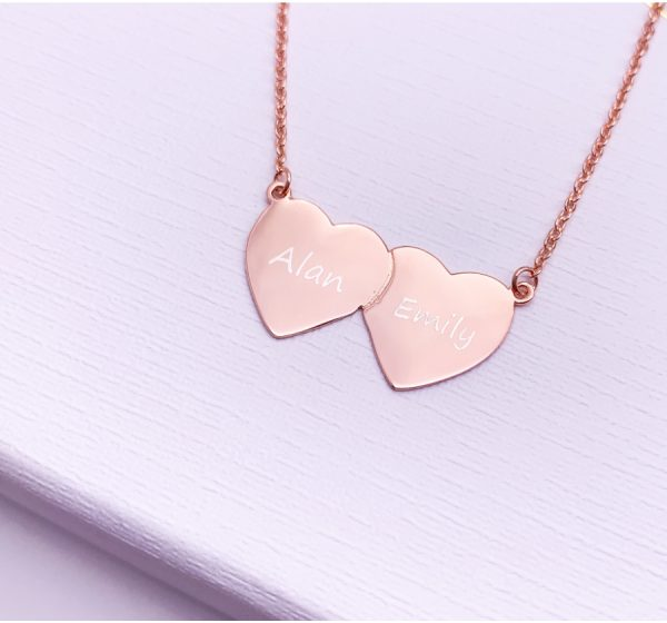 Sterling Silver Double Heart Necklace with Engraving
