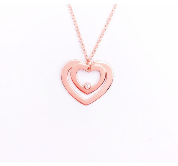 Sterling Silver Double Heart with CZ Stone Necklace