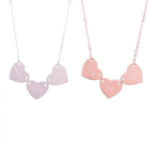 Sterling Silver Three Hearts Necklace with Engraving