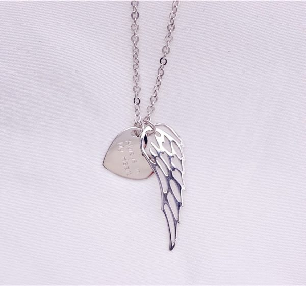 Sterling Silver Heart and Wing with Engraving