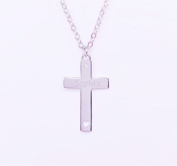 Sterling Silver Cross with Little Heart for Engraving