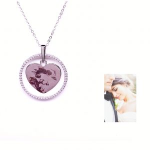 : Sterling Silver Heart-shaped with Elegant Rhinestone Crystal