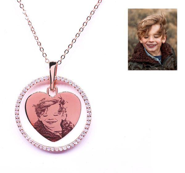 Sterling Silver Heart-shaped with Elegant Rhinestone Crystal