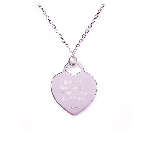 Sterling Silver Heart Tag Necklace with Photo Engraving