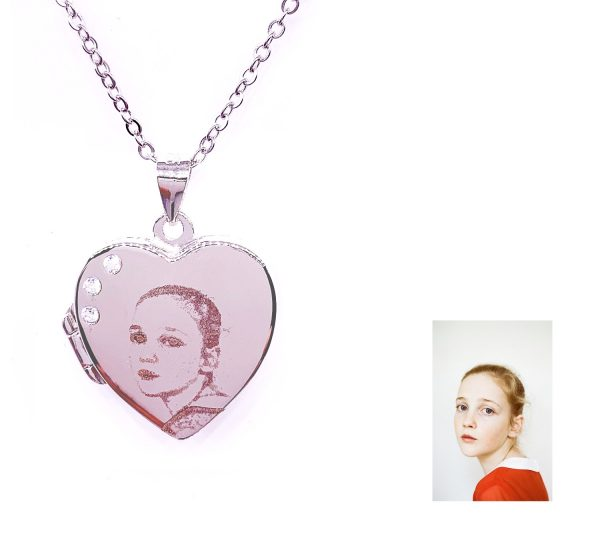 Sterling Silver Heart l.ocket Necklace with Photo Engraving