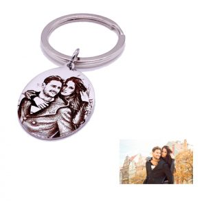 : Oval Tag Key Ring For Photo Engraving