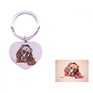 Dog Tag Key Ring For Photo Engraving
