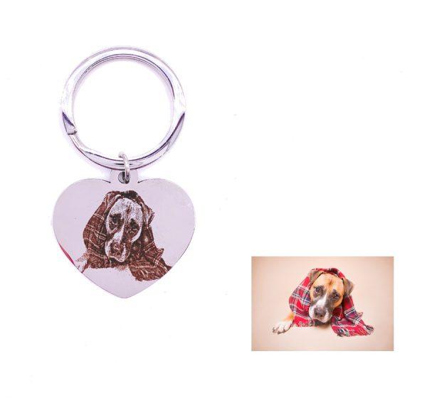 Dog Tag Key Ring For Photo Engraving