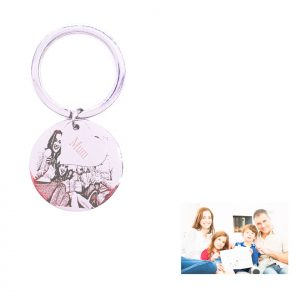 Circle Tag with Little Heart Keyring For Photo Engraving