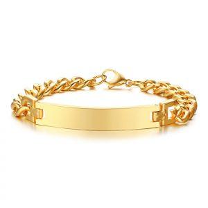 18K Gold Plated Stainless Steel Mens ID Bracelet
