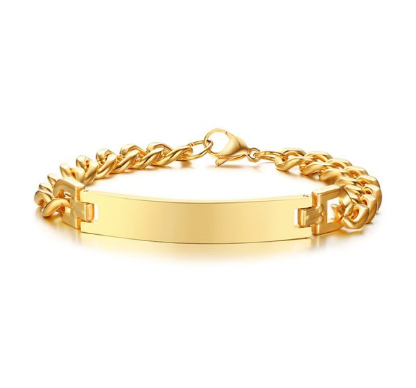 18K Gold Plated Stainless Steel Mens ID Bracelet