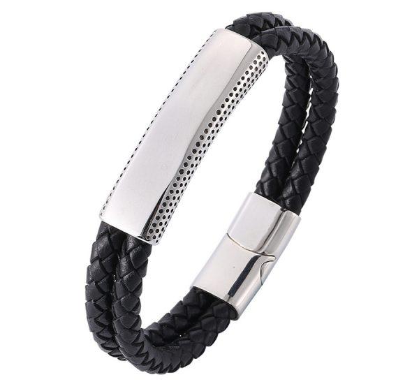 Mens Double Strap Genuine Leather Bracelet