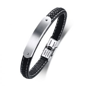 Mens Genuine Leather ID bar Bracelet