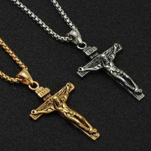 Stainless Steel Crucifix Cross Necklace