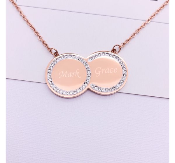Stainless Steel Double Discs Necklace with CZ Stone