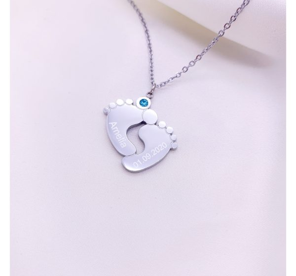 Stainless Steel Engraved Baby Feet Necklace