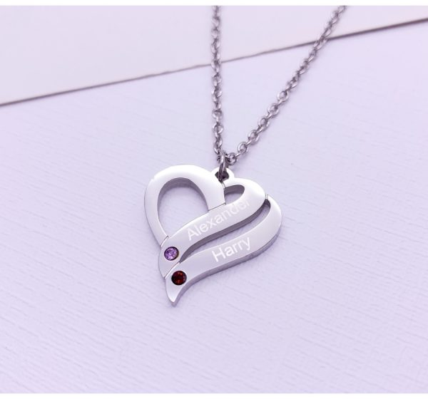 Stainless Steel Engraved Two Hearts Necklace with Birthstone