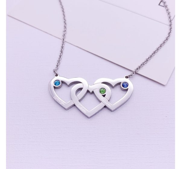 Stainless Steel Engraved Intertwined Hearts Necklace with Birthstone