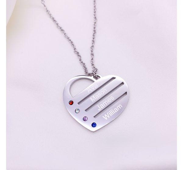 Stainless Steel Birthstone Heart Necklace with Engraved Names