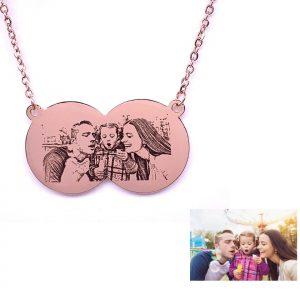 Double Circle Photo Engraving Necklace