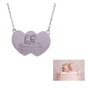 Double Heart Photo Engraving Necklace