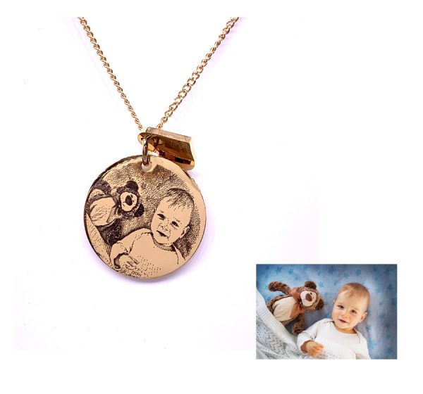 Circle with Heart Photo Engraving Necklace