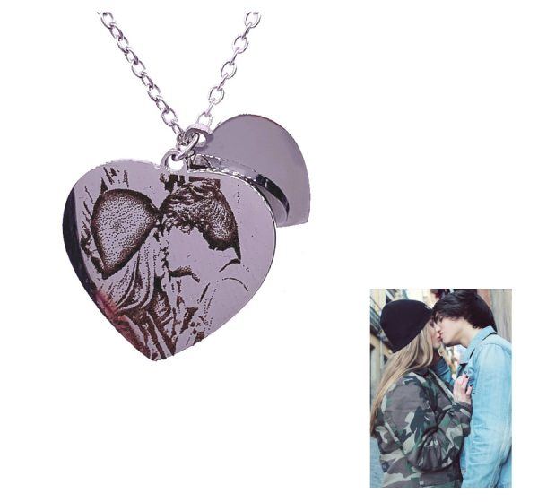 Sparkly Double Heart Photo Engraving Necklace