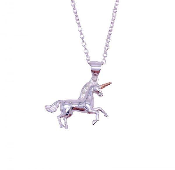 Sterling Silver 3D Unicorn Pendant & Necklace
